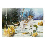 English Pointer winter scene Greeting Cards