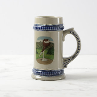 English Pouter:  Red With Mountains Mugs