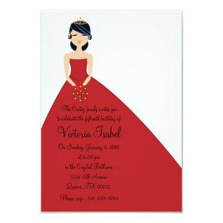"""english RED PRINCESS quinceañera quince invitation 3.5"""" X 5"""" Invitation Card"""