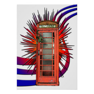 English Red Telephone Box Art Poster