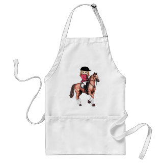 English Riding Girl and Horse Adult Apron
