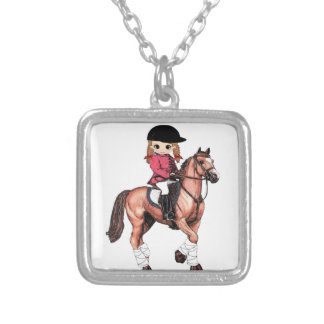 English Riding Girl and Horse Square Pendant Necklace
