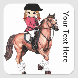 English Riding Girl and Horse Square Stickers