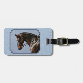 English Riding Horse Sky Blue Luggage Tag