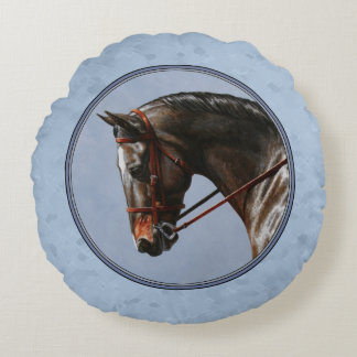 English Riding Horse Sky Blue Round Pillow