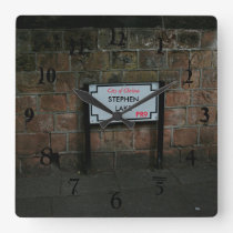 English Road Sign personalized Square Wall Clock