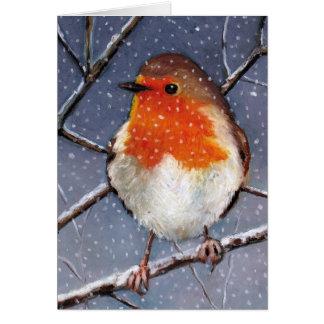 ENGLISH ROBIN IN SNOW: OIL PASTEL ART CARD