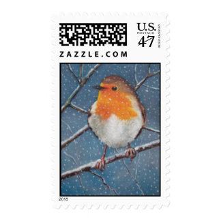 ENGLISH ROBIN IN SNOW: OIL PASTEL ART: STAMP