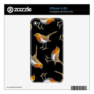 English Robin Pattern on Black, Original Art, Bird Decal For The iPhone 4S