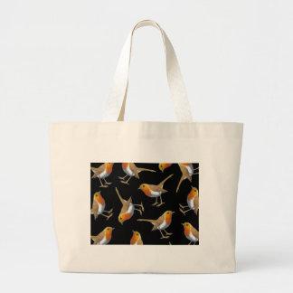 English Robin Pattern on Black, Original Art, Bird Large Tote Bag
