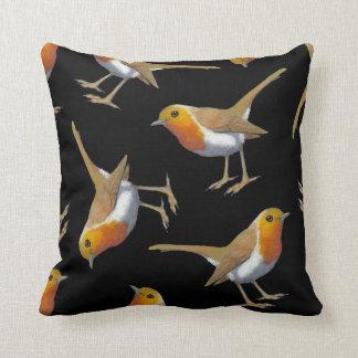 English Robin Pattern on Black, Original Art, Bird Throw Pillow