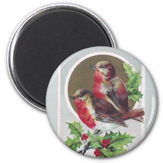 English Robins and Holly Vintage Christmas Refrigerator Magnet