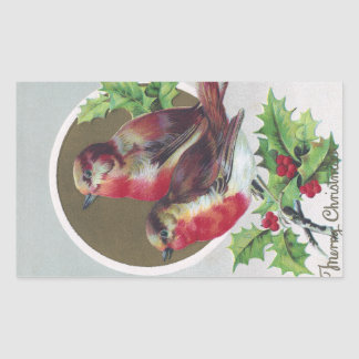 English Robins and Holly Vintage Christmas Rectangle Stickers