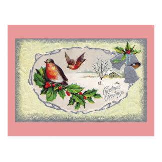 English Robins and Silver Bells Vintage Christmas Postcard