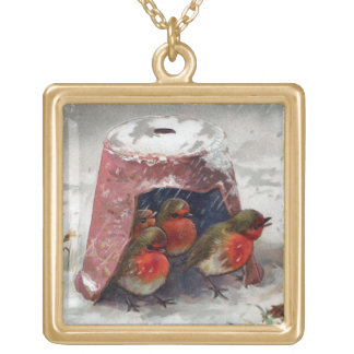 English Robins Huddle Under Flowerpot Vintage Gold Plated Necklace