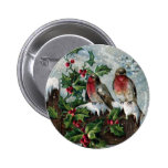English Robins on a Fence Antique Christmas Buttons