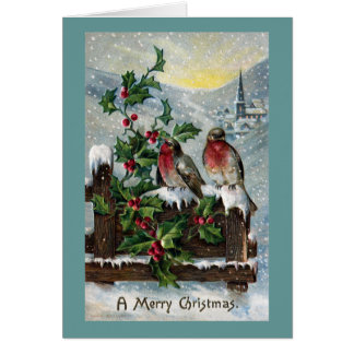 English Robins on a Fence Antique Christmas Card