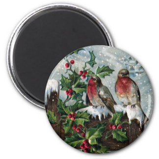 English Robins on a Fence Antique Christmas Magnets