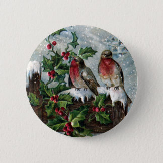English Robins on a Fence Antique Christmas Pinback Button