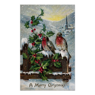 English Robins on a Fence Antique Christmas Poster