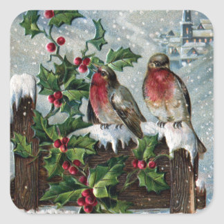 English Robins on a Fence Antique Christmas Square Sticker