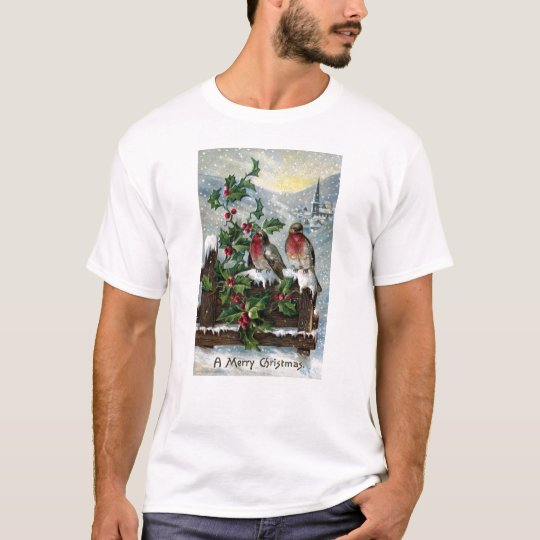 English Robins on a Fence Antique Christmas T-Shirt