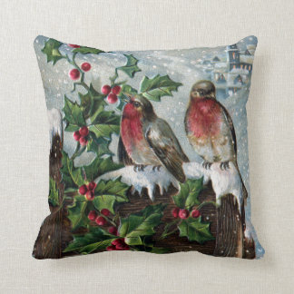 English Robins on a Fence Antique Christmas Throw Pillow