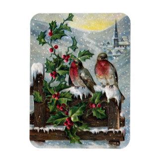 English Robins on a Fence Vintage Christmas Magnet