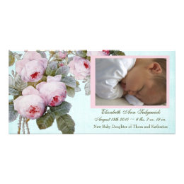 English Rose Birth Announcement for Baby Girl