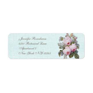 English Rose Bouquet Vintage Botanical Custom Label