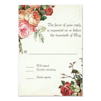 English Rose Bouquet, Vintage n Modern Swirl Leaf Card