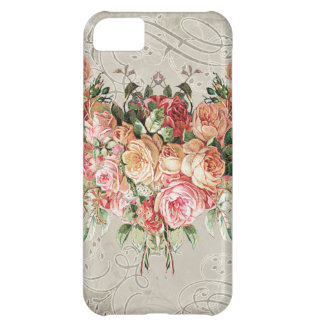 English Rose Bouquet, Vintage n Modern Swirl Leaf Cover For iPhone 5C