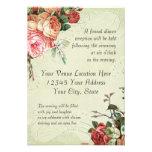 English Rose Bouquet, Vintage n Modern Swirl Leaf Custom Invitation