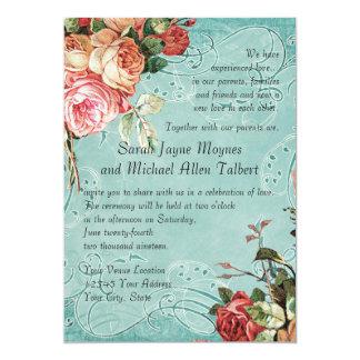 English Rose Bouquet, Vintage n Modern Swirl Leaf 5x7 Paper Invitation Card