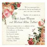 English Rose Bouquet, Vintage n Modern Swirl Leaf Custom Invites
