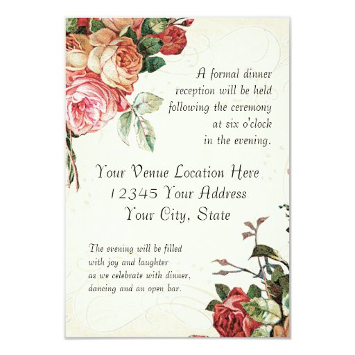 English Rose Bouquet, Vintage n Modern Swirl Leaf 3.5x5 Paper Invitation Card