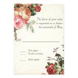 English Rose Bouquet, Vintage n Modern Swirl Leaf Personalized Invitation