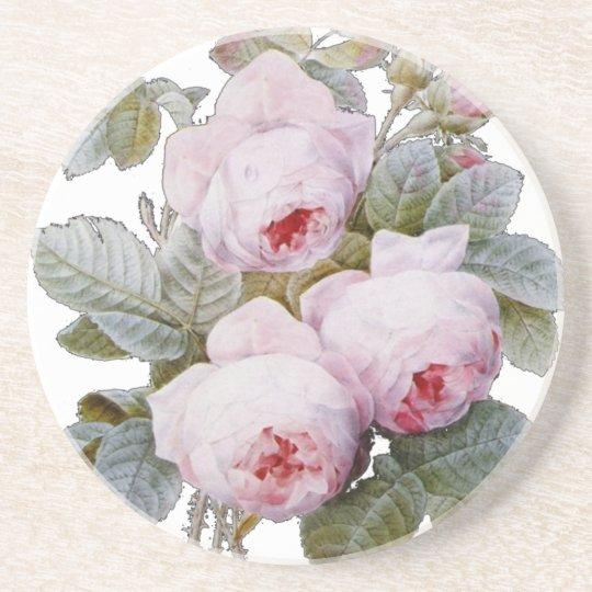English Rose Garden Bouquet Pink Floral Drink Coaster