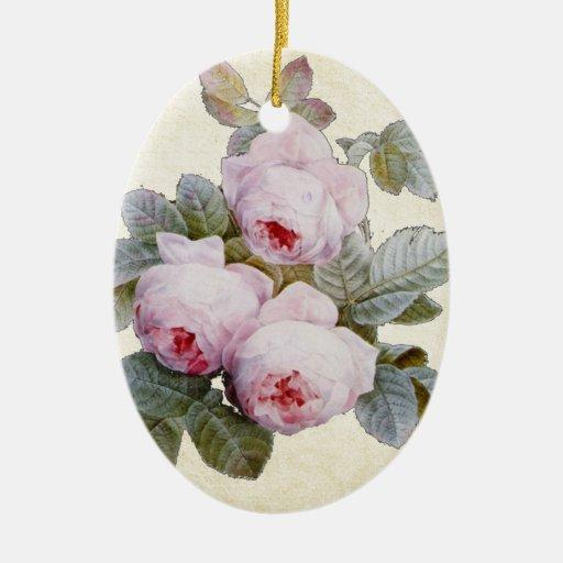 English Rose Garden Bourbon Pink Floral Christmas Tree Ornament Zazzle