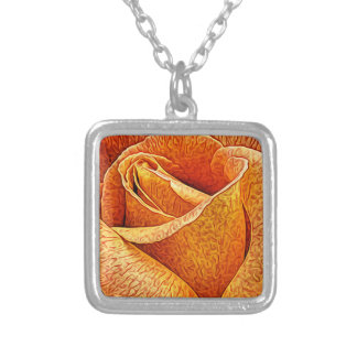English Rose Macro Floral flower Close Up Petals Silver Plated Necklace