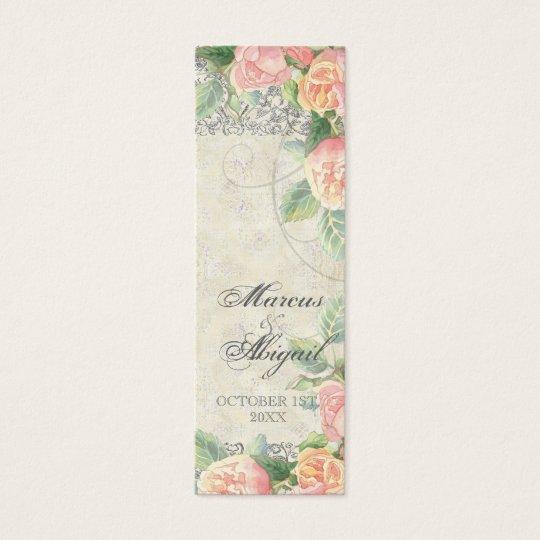 English Rose, Peach & Silver Wedding Favor Tag