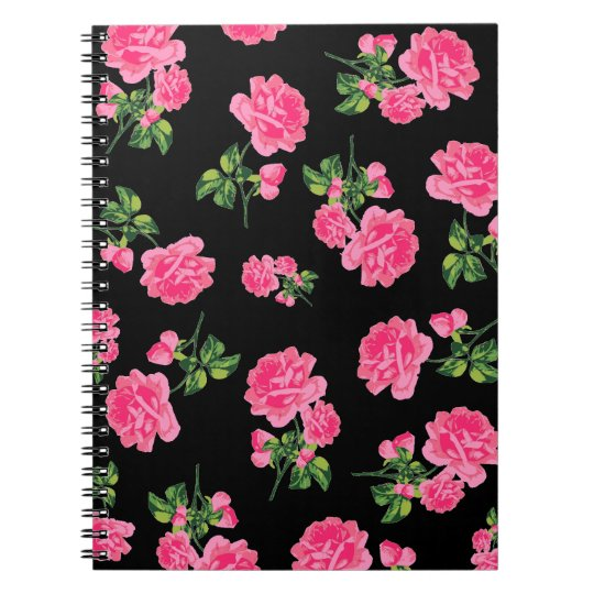 English Rose Pink floral notebook - black