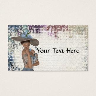 English rose romantic girl business card