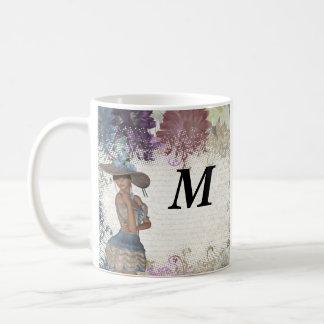 English rose romantic girl coffee mug