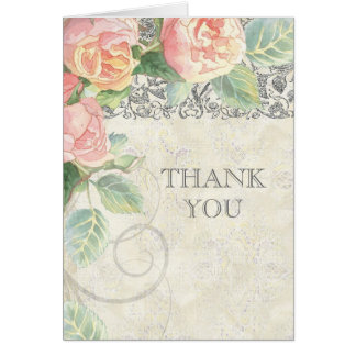 English Rose & Silver Thank You Notes Stationery Note Card
