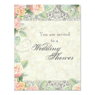 English Rose & Silver Wedding or Bridal Shower 4.25x5.5 Paper Invitation Card