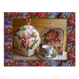 English Rose Tea Cozy Postcard