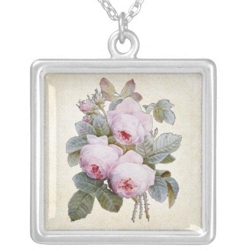 English Rose Victorian Fine Art Floral Square Pendant Necklace