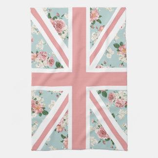 English Roses Union Jack Flag Kitchen Towel