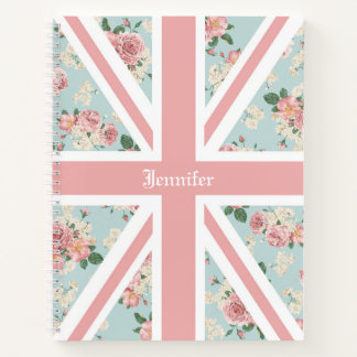 English Roses Union Jack Floral Custom Notebook